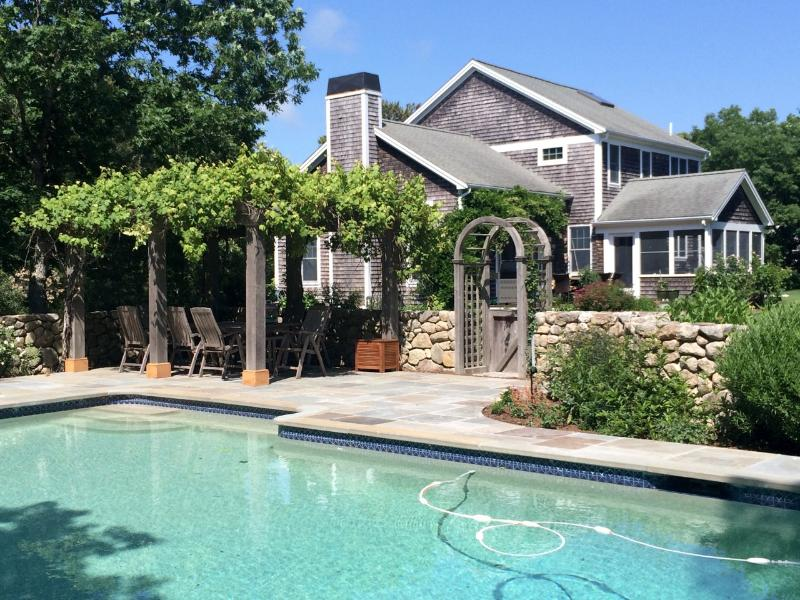 Exterior and Pool - ROSED - Gorgeous Deep Bottom Home, Heated Pool, Screened Porch, Large Landscaped Private Yard, Association Tennis Courts. - Martha's Vineyard - rentals