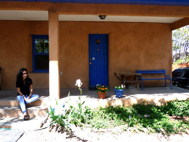 Front porch with guest - Stay In A Popular, Historic Adobe For Less! - Santa Fe - rentals