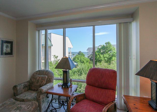 Living Area - 2519 Villamare - 5th Floor just steps to the beach & pools - Hilton Head - rentals