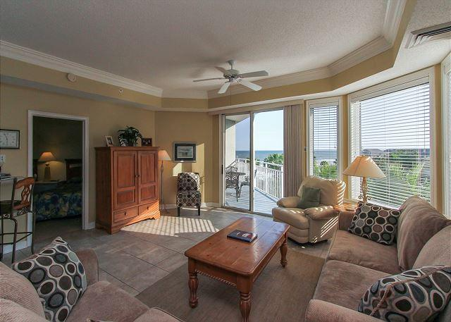 Living Area - 2402 SeaCrest - Pretty, 4th Floor Villa with Oceanviews. - Hilton Head - rentals