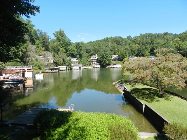 View from Deck of Tryon Bay Lake House - Lakefront with 2 wood burning fireplaces & canoe. - Lake Lure - rentals