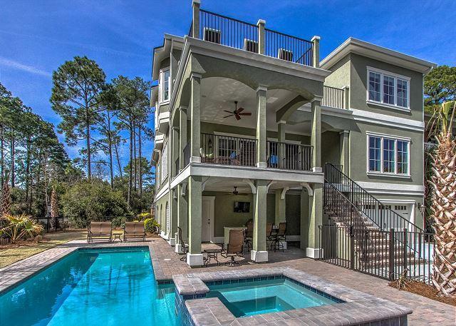 Sandy Beach 1 - Sandy Beach Trail 1, 6 Bedrooms, Large Private Pool, Spa, Elevator, Sleeps 14 - Hilton Head - rentals