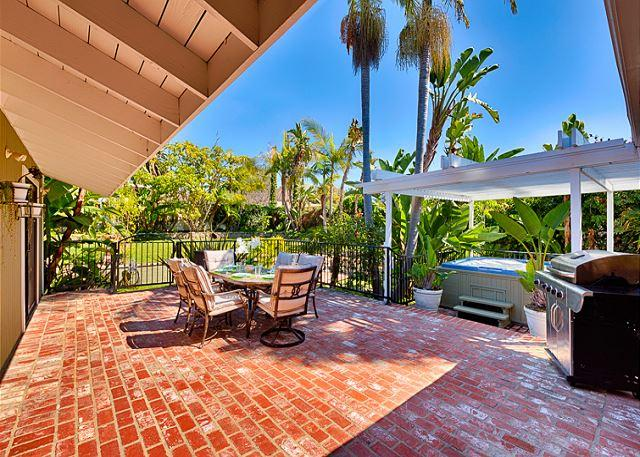 The back deck leading to your private bubbling hot tub - 15% OFF OPEN JAN/FEB DATES –Large Yard, Walk to Beach, Private Hot Tub - San Clemente - rentals