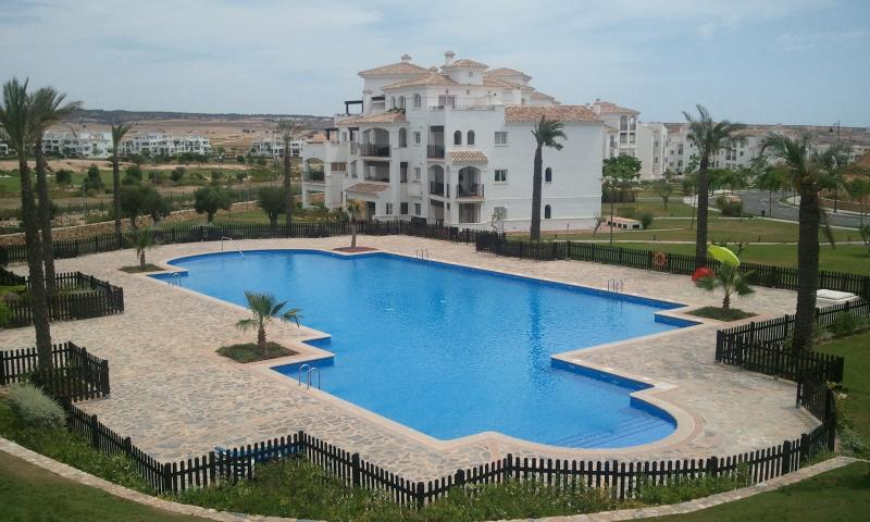 View of pool from balcony - Hacienda Riquelme Golf Resort, 68 Atlantico Apt.1B - Sucina - rentals