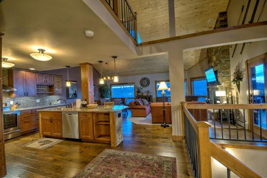 Top Level Kitchen, Dining and Living Area, Amazing Views, Vaulted Ceilings, Stone Fireplace, Stainless Steel Appliances, Granite Countertops,   - Churchill Lodge North - Steamboat Springs - rentals