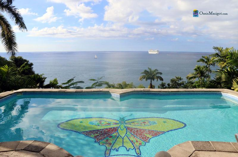 The View Over the Butterfly Pool... - Butterfly Beach House, Walk to Long Sandy Beach - Castries - rentals