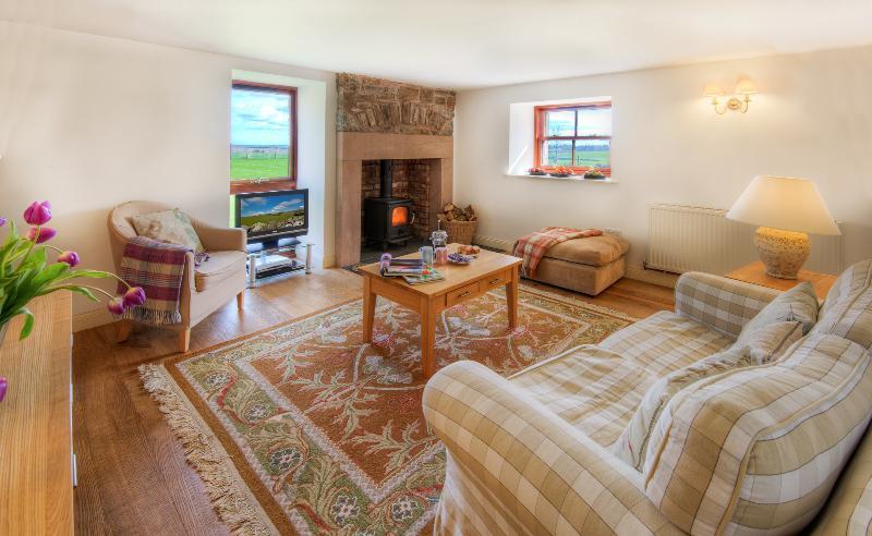 Sitting room at Garden Cottage - A light space with log-burning stove - Garden Cottage, Wedderburn Castle Scottish Borders - Duns - rentals