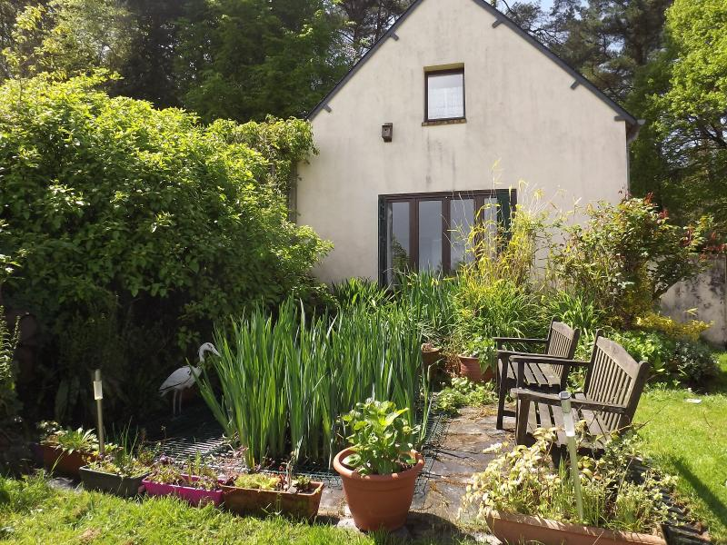 side garden with pond (covered with a grill) - Lanmeur Cottage,nr Cleguerec and Guerledan lake - Cleguerec - rentals