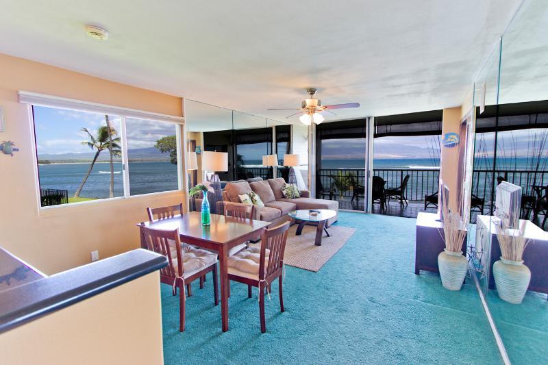Living room - 2BR Oceanfront Condo; Pool; Walk to Harbor & Shops - Wailuku - rentals