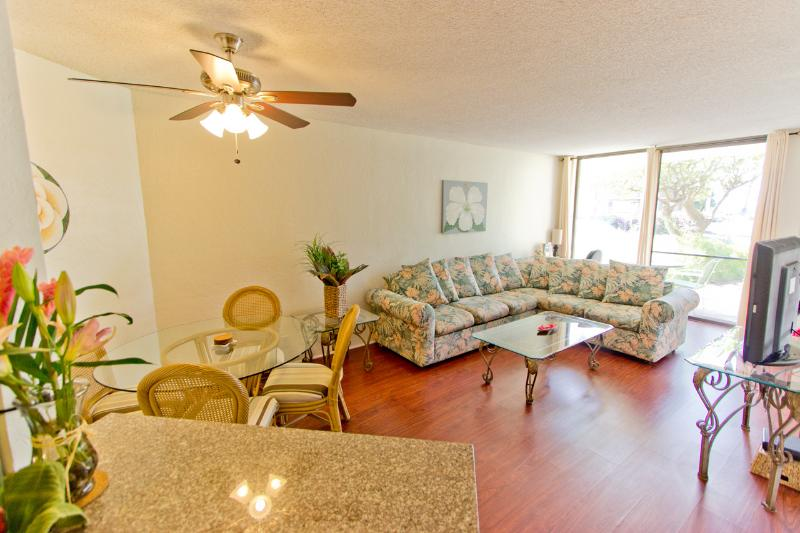 Living Room - Ground Floor; Oceanfront; Perfect Kihei Condo! - Kihei - rentals