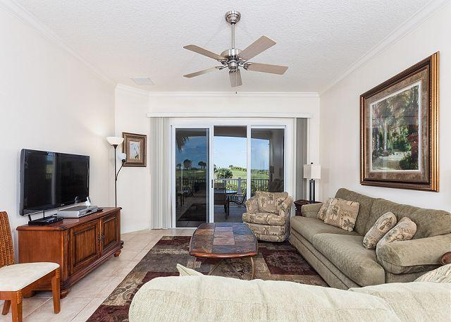 Our casually elegant living room is a treat - 424 Cinnamon Beach, Ocean Views, Tile, 2 Pools, Expansive Balcony, Wifi - Palm Coast - rentals