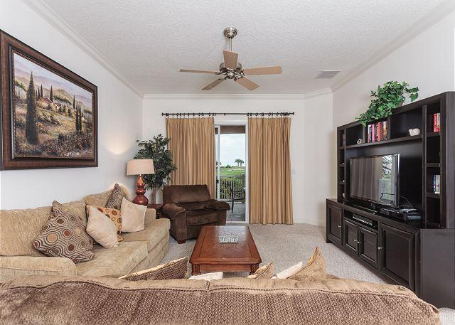 The living room is a great place to group together for fun! - 422 Cinnamon Beach, 2nd Floor, Signature Building, Golf & Ocean Views, HDTV - Palm Coast - rentals