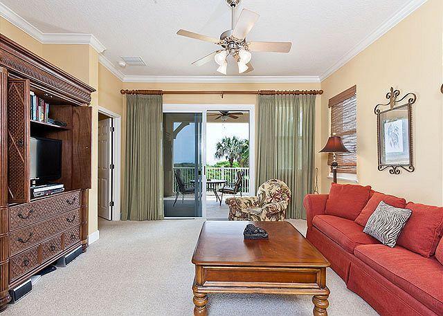 The beautiful and spacious living room has great ocean views! - Cinnamon Beach 525, Beach Front 2nd Floor, Southeast Corner Unit, Wifi - Palm Coast - rentals