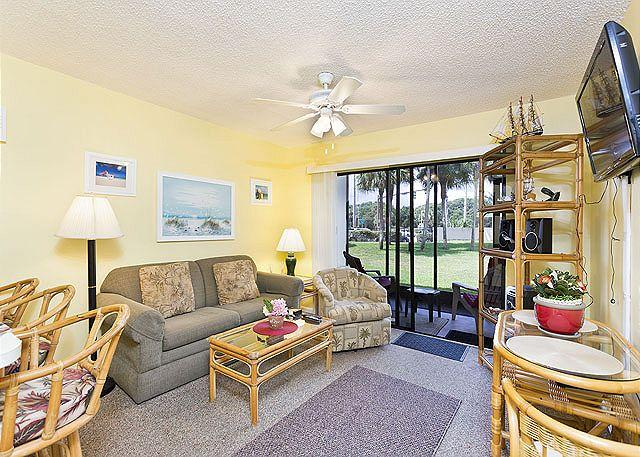 A view of our beautifully furnished living room with HDTV! - Ocean Village Club B15, Ground Floor with Lanai, 2 pools, new HDTV - Saint Augustine - rentals