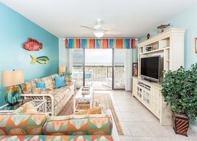 Kick back, relax, and watch a bit of TV on our HDTV - Sea Place 11208, Direct Ocean Front condo, pool, tennis, St Augustine FL - Saint Augustine - rentals