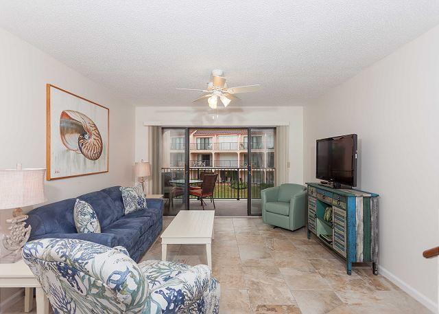 Relax and enjoy our sunny living room - Sea Place 12232 Coastal Property Rental with pool, wifi, HDTV & Blue-Ray - Saint Augustine - rentals