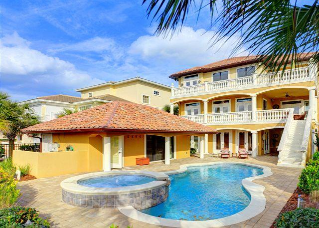 Tuscany By The Sea has private heated spa, heated pool & cabana - Tuscany By the Sea, Luxury 5 bedrooms, Pool, heated Spa, Cabana, 8 HDTV's - Palm Coast - rentals