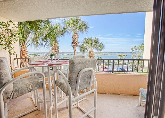 The 2nd balcony with intracoastal views - Windjammer 105, 3 Bedrooms, Beach Front, Elevator, Pool - Saint Augustine - rentals