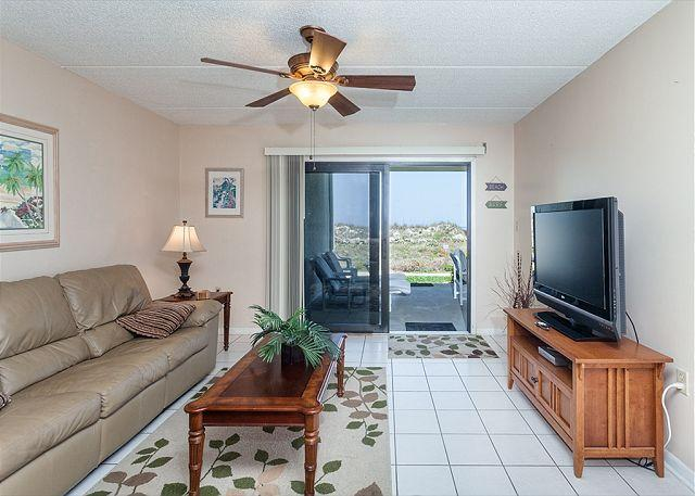 Enjoy our ground floor ocean front living room with HDTV - Island South 4, Ocean Front, Ground Floor, Corner Unit - Saint Augustine - rentals