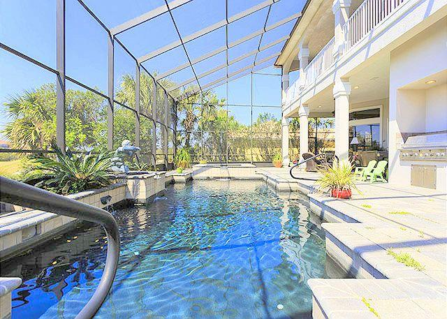 Screened lanai with heated spa, pool, & summer kitchen. - Ocean Hammock Sea Winds Home, with Private Pool, HDTVs, Wifi - Palm Coast - rentals