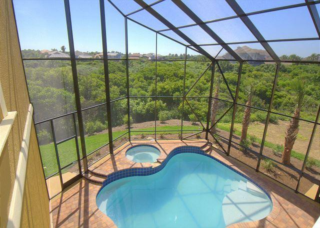 The screened-in lanai with pool and spa - Windows on the Sea, OceanView, Private Pool, Spa, 6 BRs, Elevator,HDTV, Wifi - Palm Coast - rentals
