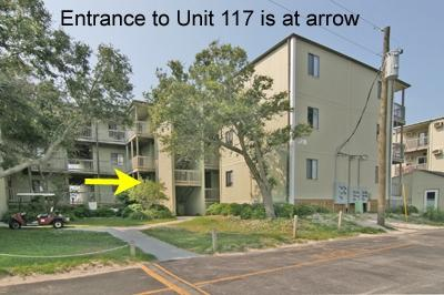 Building 2 with arrow pointing to 117 entrance - Topsail Reef 117 - BLD 2 - North Topsail Beach - rentals