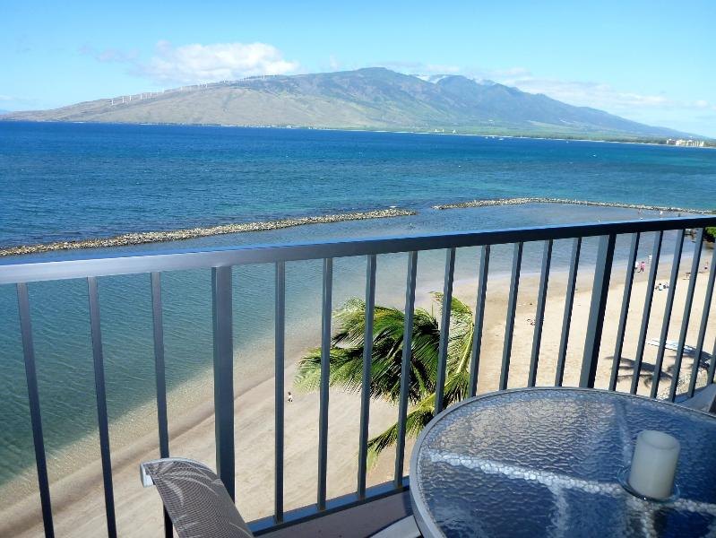 Lanai view, with your sandy beach below - Menehune Shores, 612, oceanfront, all remodeled. - Kihei - rentals
