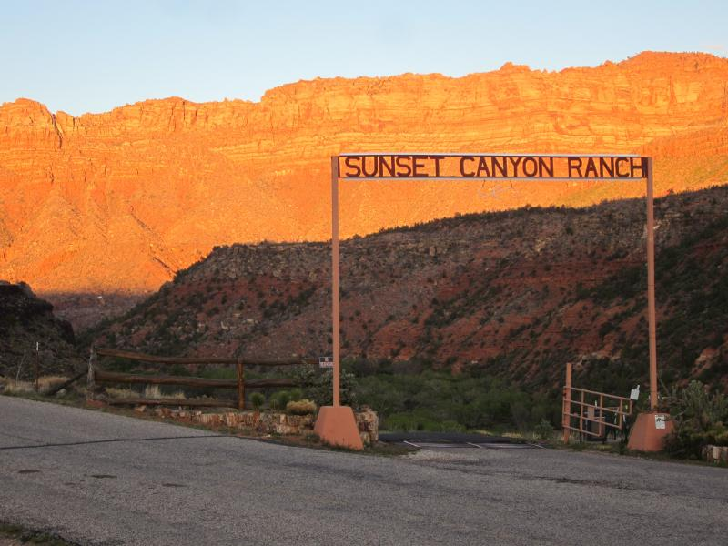 Entry to the Sunset Canyon Ranch - and that's how it got its name! - The Log House at Sunset Canyon Ranch - Zion National Park - rentals
