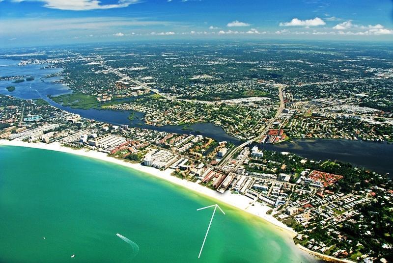 Aerial view of Sea Shell Condo on Siesta Key - Crescent Beach - 2BR- Beachfront Condo Complex - 1 - Siesta Key - rentals