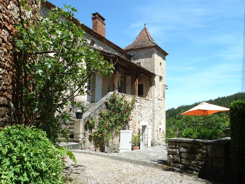 The terrace with the parasol is where most meals are eaten during the summer - Domaine de Roubignol - Midi-Pyrenees - rentals
