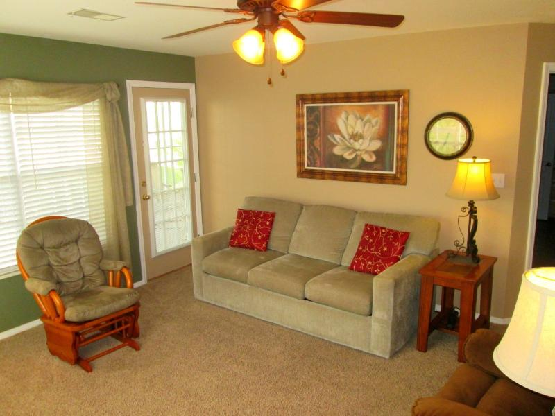 The living room seats 6. Queen sized sofa sleeper and rocker. - Brook, Poolside Walk In, Recliners! | Meadow Brook - Branson - rentals