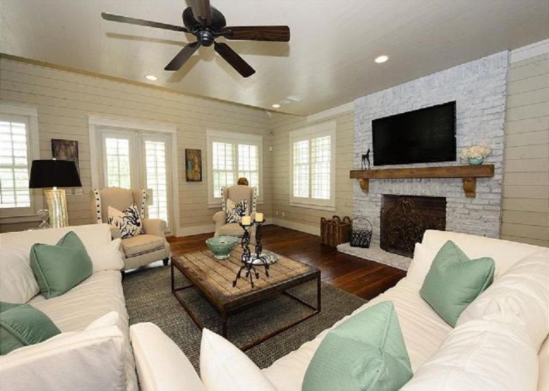 Large, Sun-Lit Open Concept Living Area on Second Floor with Fireplace and Flat Screen TV - 81 WATERCOLOR BLVD W - Santa Rosa Beach - rentals