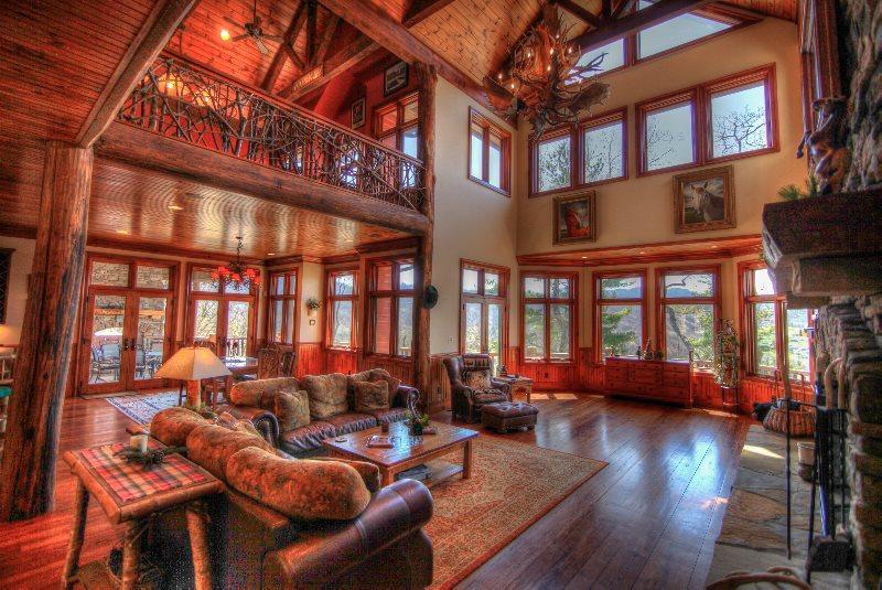 Main Living Room - Open Floor Plan, Massive Vaulted Timber Frame - Overlook Estate - Banner Elk - rentals