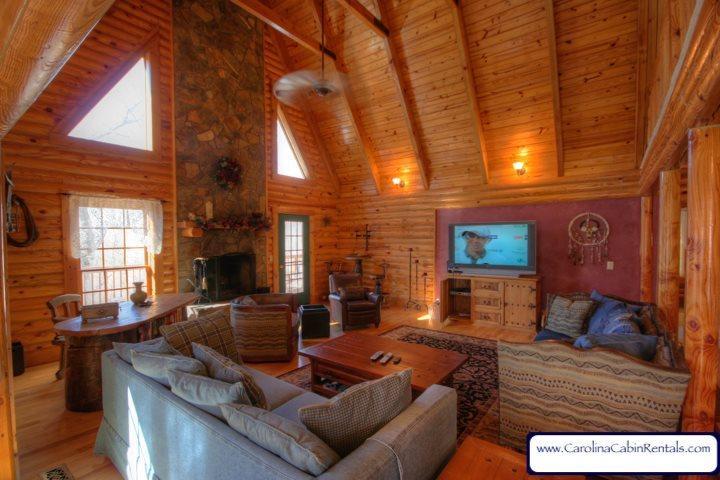 Great Room at Hummingbird Cabin - Hummingbird Log Cabin - Banner Elk - rentals