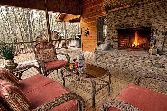 Outdoor fireplace on the porch - Jack Bear's Cabin - Blue Ridge - rentals