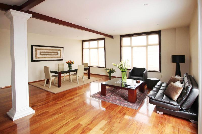 Open-plan living-dining area - Gorgeous elegant apartment, views, in Historic Center - Mexico City - rentals