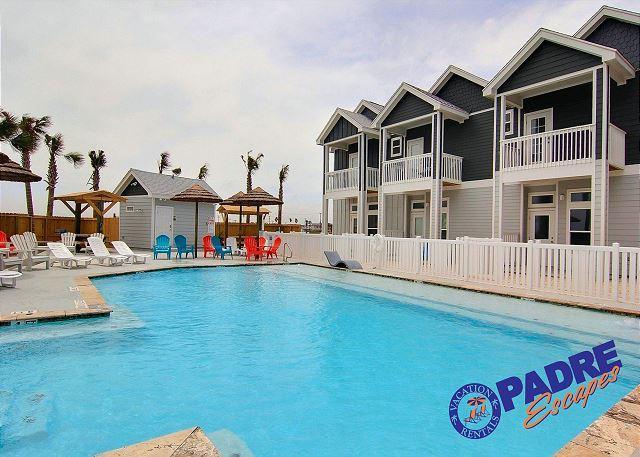 Sparkling saltwater pool at Padre Beach View - Slip on your sunglasses & flip-flops & enjoy this New Beachfront property. - Corpus Christi - rentals