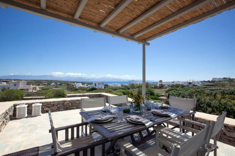 Shaded terrace view - Villa Elia - Kid friendly next to best beach - Naoussa - rentals