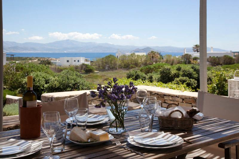 Shaded terrace view - Villa Myrtia - Romantic getaway next to best beach - Naoussa - rentals