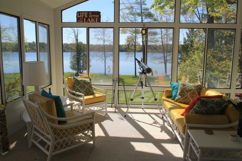 Relax and Enjoy the View On The Sun Porch - The Sunshine Inn on Cedar Hedge Lake - Interlochen - rentals