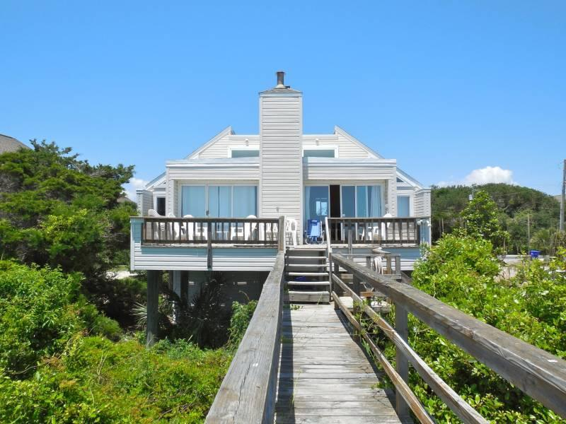 Beachfront Exterior - Beach Cottage at Folly - Folly Beach, SC - 2 Beds BATHS: 2 Full - Folly Beach - rentals