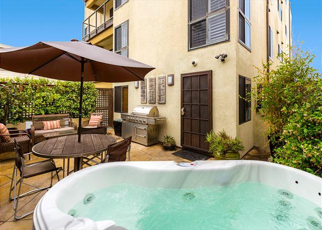 Private patio with hot tub, outdoor seating, and lounge chairs - 20% OFF DEC - Steps to Sand - Perfect La Jolla Condo- Private Hot Tub + Patio - La Jolla - rentals