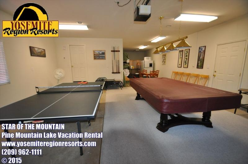 Gameroom in the garage, Unit 13 Lot 142 Pine Mountain Lake vacation rental Star Of The Mountain - Upscale 1/2m>MarinaBeach GameRm WIFI 25m>Yosemite - Groveland - rentals