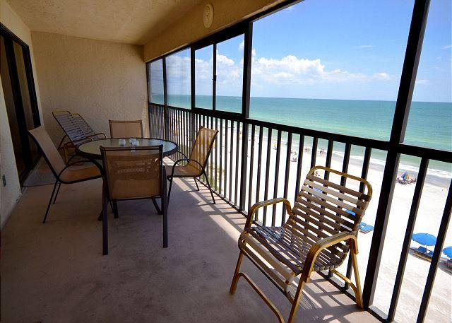 Screened Balcony with tons of seating - Arie Dam 404 Gulf Front Corner Condo on Madeira Beach with Direct Gulf Views! - Madeira Beach - rentals