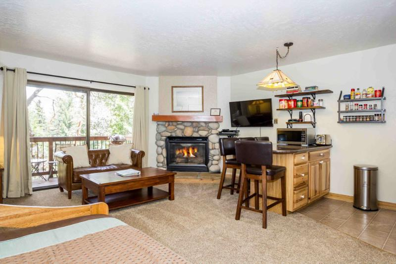 Your living & dining area with seating, gas fireplace, TV & DVD player. - Cozy Studio Condo Inside the Gates of the Park! - Yosemite National Park - rentals