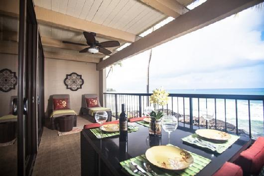 Lanai Dining and Relaxing Right on the Ocean! - Oceanfront 2 Bedroom Condo #205 with Fabulous View! - Kailua-Kona - rentals