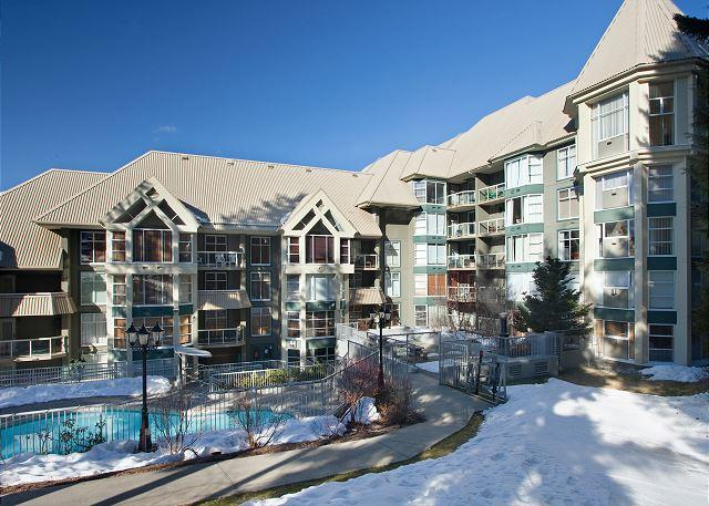 Rear Exterior View of Woodrun Lodge - Woodrun Lodge #302   Whistler Platinum   Ski-In/Ski-Out Condo, Shared Hot Tub - Whistler - rentals