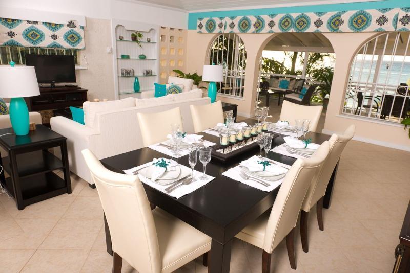 Bora Bora Upper - Open Plan Living and Dining Area - Bora Bora Upper - Chic Beachfront Apartment - Saint James - rentals