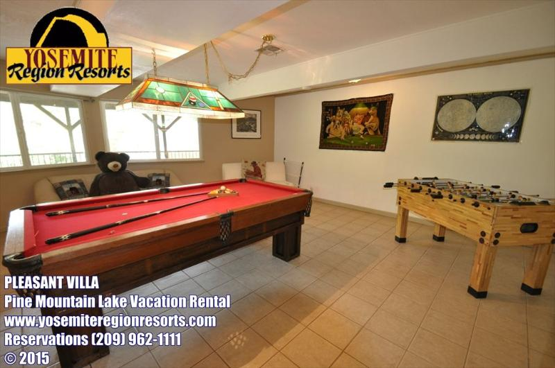 Game room, 1st floor, Unit 1 Lot 125, 1/2-mile to Dunn Court Beach Pine Mountain Lake Vacation Rental Pleasant Villa - 1/2mile > Dunn Ct Beach, Pool Table, Foosball - Groveland - rentals