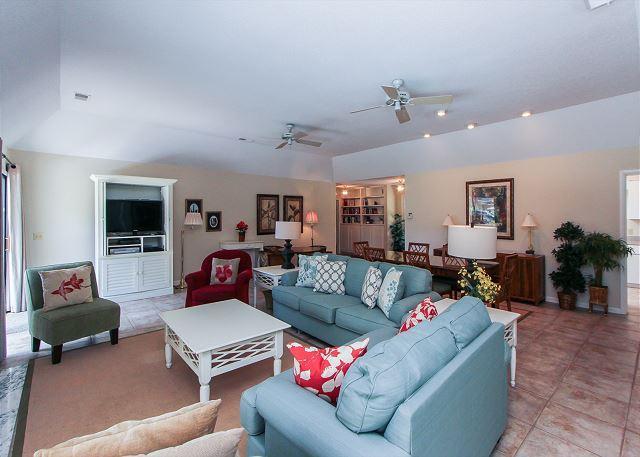 Living Area - 23 West Beach Lagoon-3rd Row Ocean, 2016 dates available. - Hilton Head - rentals